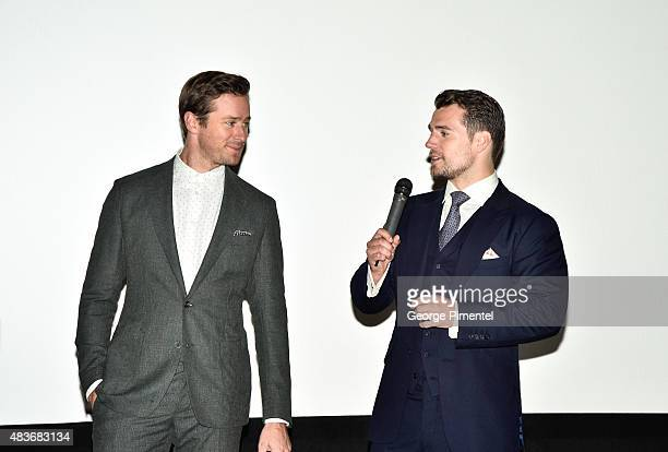 Cast members Armie Hammer and Henry Cavill Alicia Vikander attend the premiere of Warner Bros Pictures' 'The Man From UNCLE' at Scotiabank Theatre on...