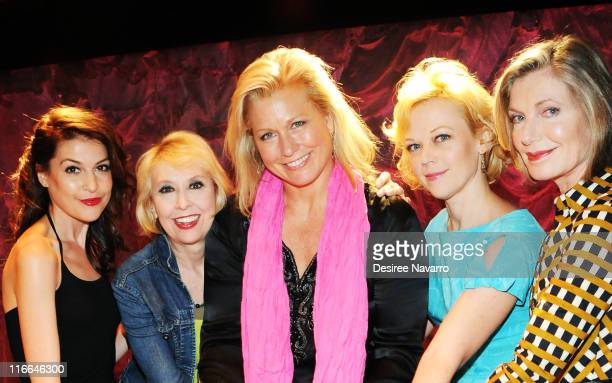 Cast members Ashley Austin Morris Julie Halston Emme Emily Bergl and Susan Sullivan at the celebration of the 700th OffBroadway performance of Love...
