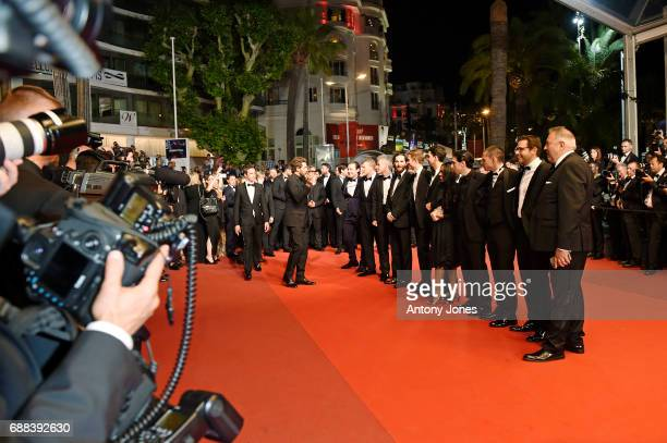 Cast members attend the 'Good Time' screening during the 70th annual Cannes Film Festival at Palais des Festivals on May 25 2017 in Cannes France