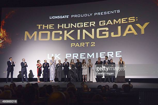 Cast members attend The Hunger Games Mockingjay Part 2 UK Premiere at Odeon Leicester Square on November 5 2015 in London England