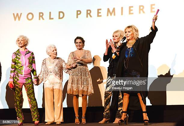 Cast members attend the World Premiere of Absolutely Fabulous The Movie at Odeon Leicester Square on June 29 2016 in London England