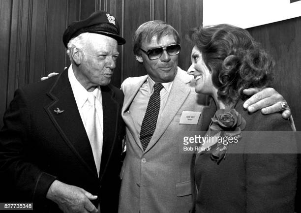 'BATMAN' cast members Batman's Adam West and Lee Meriwether are joined by 'Gilligan's Island' Alan Hale Jr during luncheon at Century Plaza Hotel...