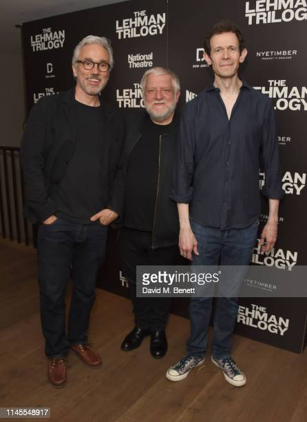 "Cast members Ben Miles, Simon Russell Beale and Adam Godley attend the press night after party for ""The Lehman Trilogy"" at The Ham Yard Hotel on May..."