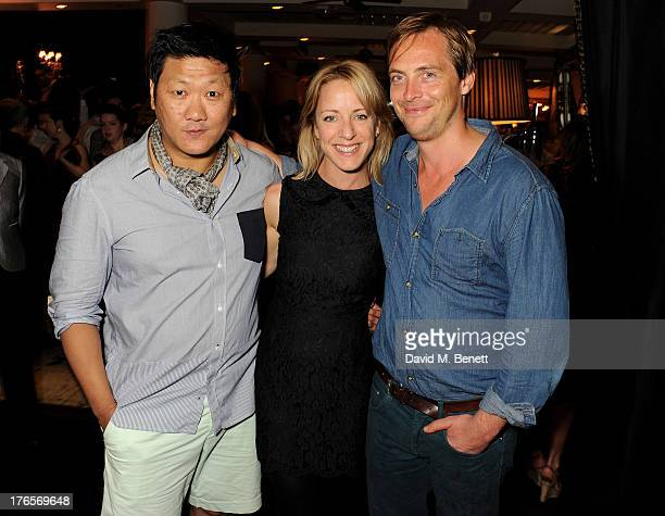 Cast members Benedict Wong Claudie Blakley and Stephen Campbell Moore attend an after party following the press night performance of 'Chimerica' at...