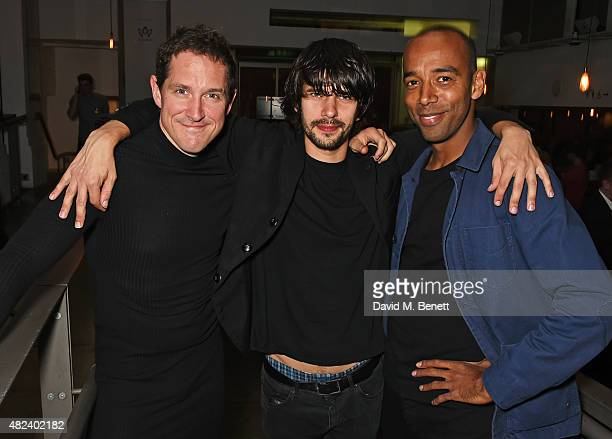 Cast members Bertie Carvel Ben Whishaw and Kevin Harvey attend an after party following the press night performance of 'Bakkhai' at The Almeida...