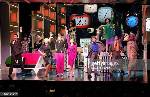 Cast members bow at the curtain call during the Gala Night performance of 9 To 5 The Musical at The Savoy Theatre on February 17 2019 in London...