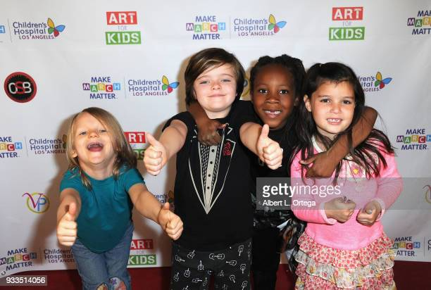 Cast members Bowie Bundlie Harlo Haas Zakai Karter and Madelyn Friedman attend Art For Kids And The Cast Of USA Networks' 'The Secret Lives Of Kids'...