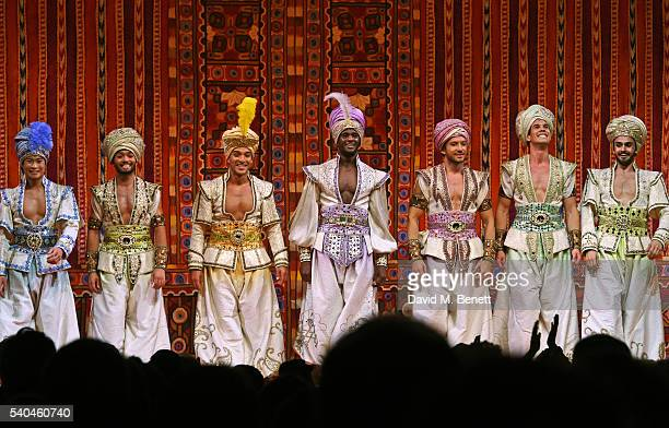 Cast members bows at the curtain call during the press night performance of Disney's 'Aladdin' at The Prince Edward Theatre on June 15 2016 in London...