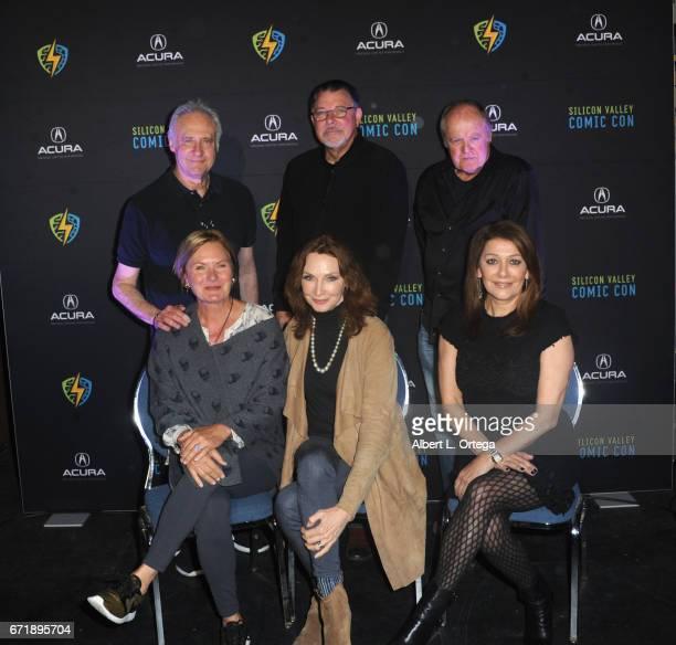 Cast members Brent Spiner Jonathan Frakes Robert O'Reilly Denise Crosby Gates McFadden and Marina Sirtis from the 'Star Trek The Next Generation'...