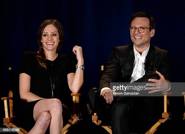 Cast members Carly Chaikin and Christian Slater of Mr Robot participate in a panel during NBCUniversal Summer Press Day on April 2 2015 in Pasadena...