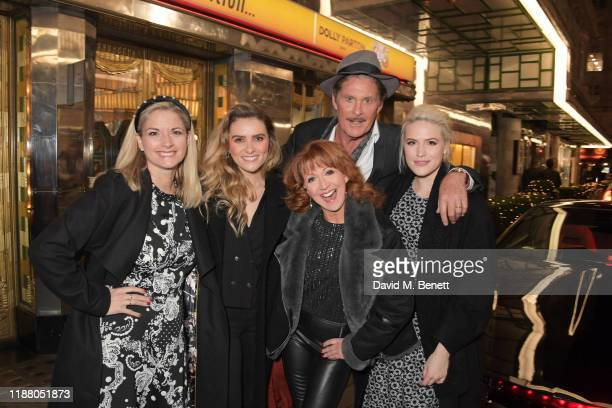 Cast members Caroline Sheen Chelsea Halfpenny Bonnie Langford David Hasselhoff and Natalie McQueen pose with KITT from Knight Rider at the gala party...