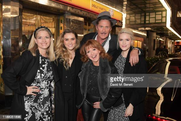 Cast members Caroline Sheen, Chelsea Halfpenny, Bonnie Langford, David Hasselhoff and Natalie McQueen pose with KITT from Knight Rider at the gala...