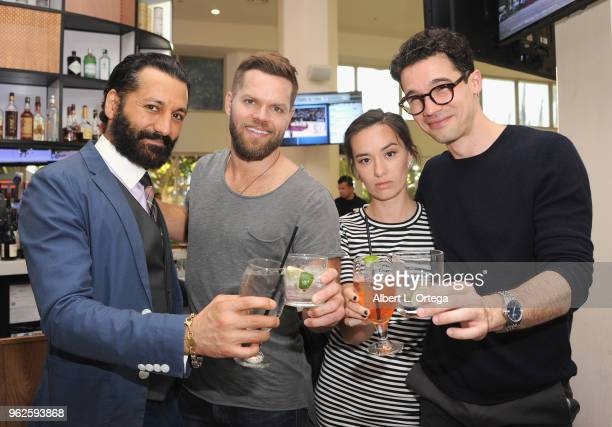 Cast members Cas Anvar Wes Chatham Cara Gee and Steven Strait of The Expanse toast at the Science Of The Expanse Panel held at Sheraton Gateway Hotel...