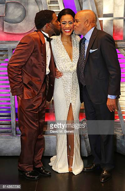 Cast members Cedric Neal Lucy St Louis and Berry Gordy founder of the Motown record label pose backstage following the press night performance of...