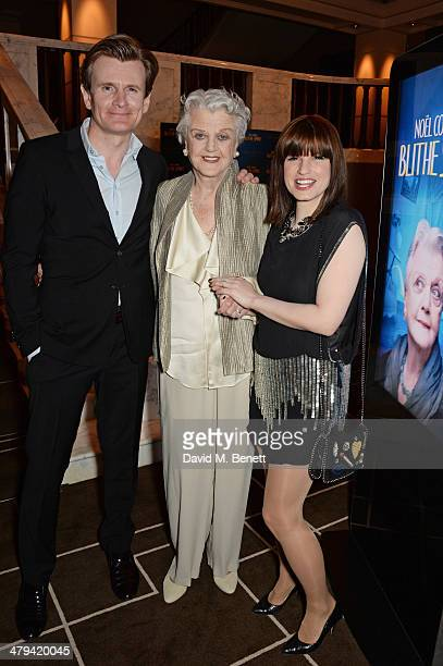 Cast members Charles Edwards Dame Angela Lansbury and Jemima Rooper attend an after party celebrating the press night performance of 'Blithe Spirit'...