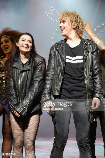 Cast members Christina Bennington and Andrew Polec bow at the curtain call during the Gala Night performance of 'Bat Out Of Hell The Musical' at The...