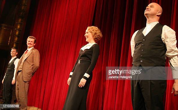 Cast Members Cliff Saunders Jennifer Ferrin Charles Edwards and Arnie Burton attend the Curtain Call opening night of 39 Steps at the American...