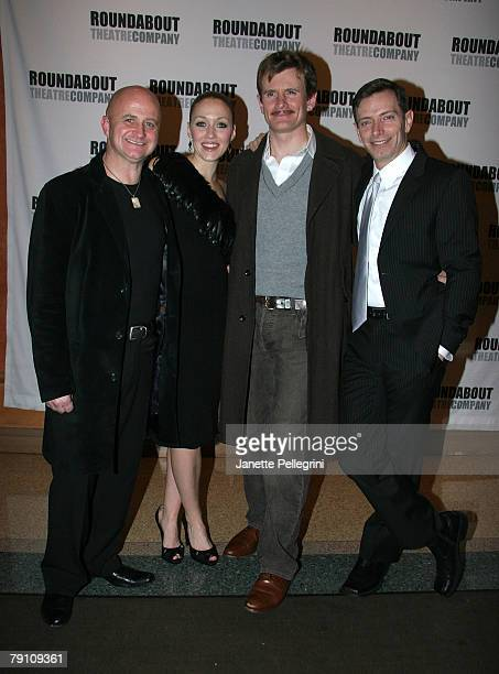 Cast Members Cliff Saunders Jennifer Ferrin Charles Edwards and Arnie Burton attend the Broadway opening night of 39 Steps at the American Airlines...
