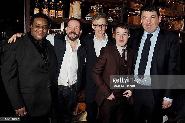 Cast members Clive Rowe Ben Miller Peter Capaldi Steven Wight and author Graham Linehan attend an after party following the Press Night performance...