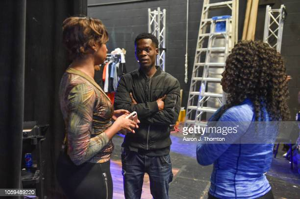 Cast members Conisha WadeDorsey Andre K Jefferson and Doyin Domingo backstage during the opening night of 'Feeding A Monster' at Northwest Activities...