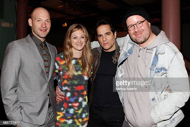 Cast members Corey Stoll Marin Ireland Yul Vazquez and director Noah Buschel attend the after party for the premiere of Glass Chin during the 2014...