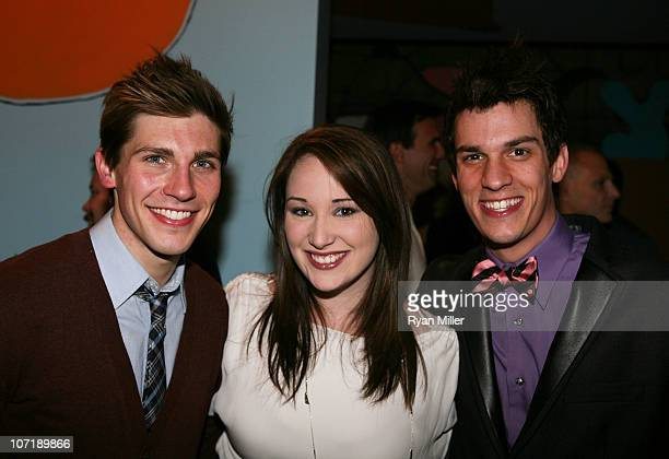 Cast members Curt Hansen Emma Hunton and Preston Sadleir pose during the party for the opening night launch of the National Tour of Next to Normal at...