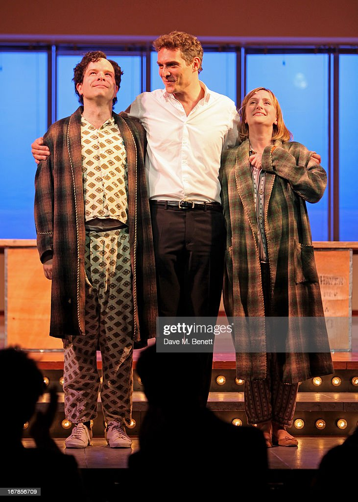Cast members Damian Humbley, Mark Umbers and Jenna Russell bow at the curtain call during the press night performance of the Menier Chocolate Factory's 'Merrily We Roll Along' as it transfers to the Harold Pinter Theatre on May 1, 2013 in London, England.