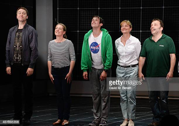 Cast members Daniel Casey Emily Joyce Graham Butler Sarah Woodward and Nicolas Tennant bow during the press night performance of The Curious Incident...