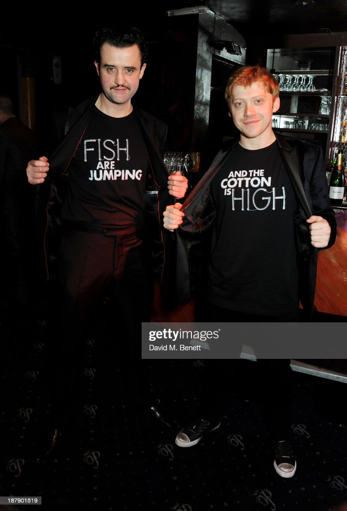 Cast members Daniel Mays (L) and Rupert Grint attend an after party celebrating the press night performance of 'Mojo' at Cafe de Paris on November 13, 2013 in London, England.