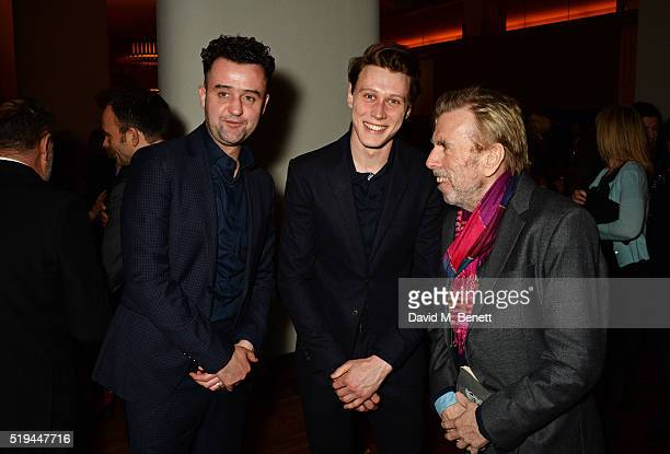 Cast members Daniel Mays George MacKay and Timothy Spall attend the press night after party of The Caretaker at Skylon on April 6 2016 in London...