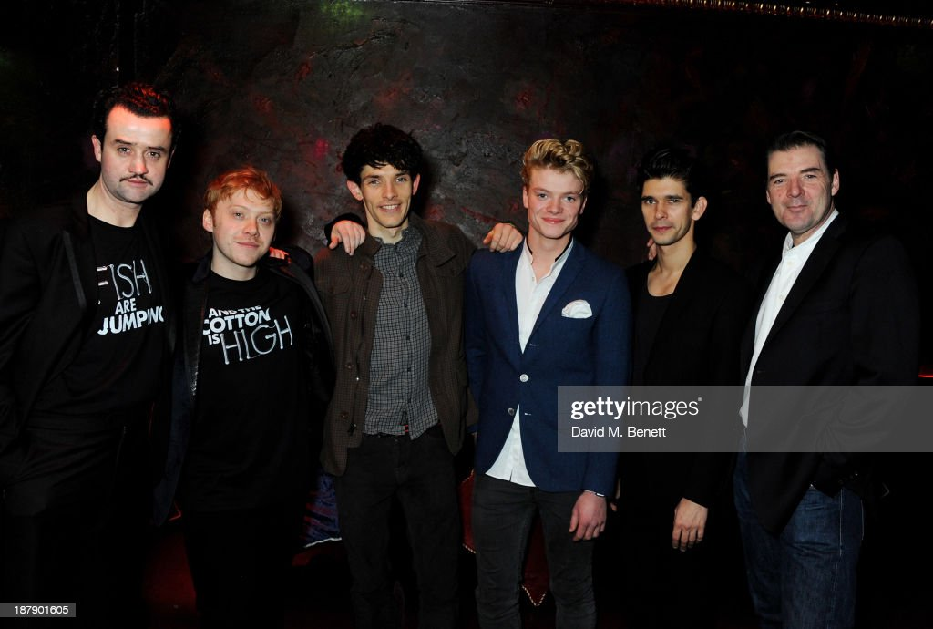 Cast members Daniel Mays, Rupert Grint, Colin Morgan, Tom Rhys Harries, Ben Whishaw and Brendan Coyle attend an after party celebrating the press night performance of 'Mojo' at Cafe de Paris on November 13, 2013 in London, England.