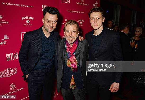 Cast members Daniel Mays Timothy Spall and George MacKay attend the press night after party of The Caretaker at Skylon on April 6 2016 in London...