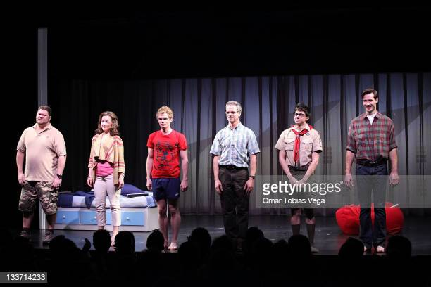 Cast members Daniel Stewart Sherman Alice Ripley Jay Armstrong Johnson Patrick Breen Gideon Glick and John Behlmann during the Wild Animals You...