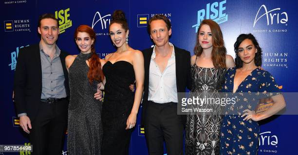 Cast members Danny McHugh Anne Martinez Jaclyhn McSpadden Brad Stanley Allie Trimm and Marisa Matthews from 'BAZ A Musical Tour de Force' attend the...