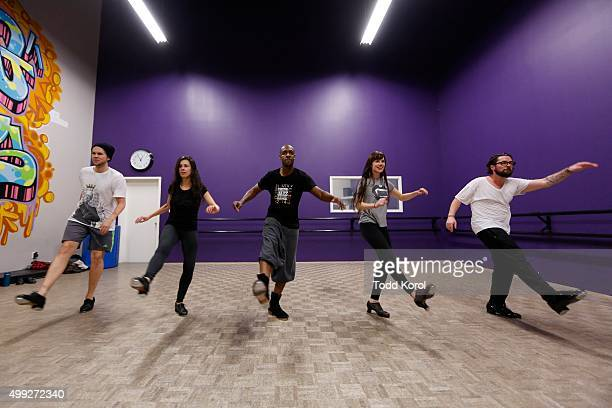 Cast members Danny Nielsen, Allison Toffan, Travis Knights, Stephanie Cadman and Ryan Foley rehears for the Big Band Tap Revue in Toronto, Ontario.
