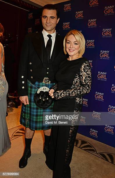 Cast members Darius Campbell and Sheridan Smith attend the press night after party for 'Funny Girl' at The Waldorf Hilton Hotel on April 20 2016 in...