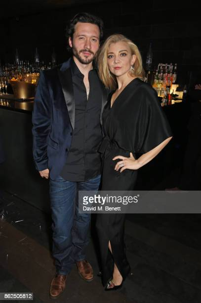 Cast members David Oakes and Natalie Dormer attend the press night after party for 'Venus In Fur' at Mint Leaf on October 17 2017 in London England