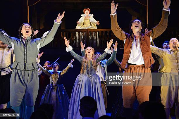 Cast members David Oakes Lucy BriggsOwen Tom Bateman Paul Chahidi and Anna Carteret bow at the curtain call during the press night performance of...