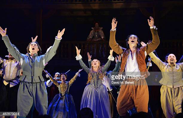 Cast members David Oakes Lucy BriggsOwen Tom Bateman Paul Chahidi bow at the curtain call during the press night performance of Shakespeare In Love...