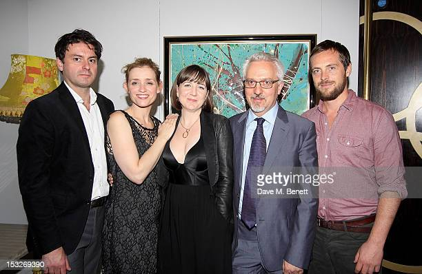 Cast members Dominic Rowan AnneMarie Duff director Josie Rourke writer Alan Hollinghurst and cast member Stephen Campbell Moore attend an after party...