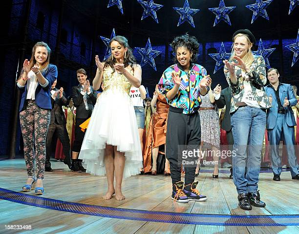 Cast members Dominique ProvostChalkley Hannah JohnKamen Siobhan Athwal and Lucy Phelps bow at the curtain call during the Gala Press Night...