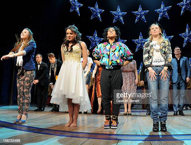 Cast members Dominique Provost-Chalkley, Hannah John-Kamen, Siobhan Athwal and Lucy Phelps bow at the curtain call during the Gala Press Night...