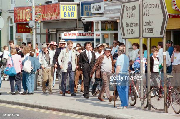 Cast members during the filming of the 'Only Fools and Horses' Christmas Special 'The Jolly Boys' Outing' in Margate 18th May 1989