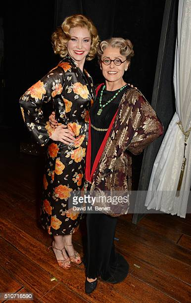 Cast members Emma Williams and Tracie Bennett pose backstage during the press night performance of Mrs Henderson Presents at the Noel Coward Theatre...