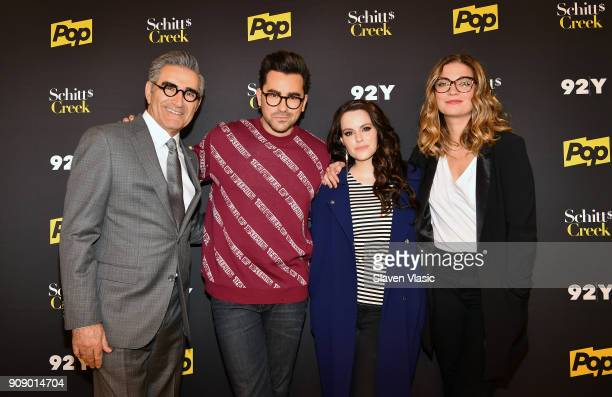 Cast members Eugene Levy Daniel Levy Emily Hampshire and Annie Murphy attend An Evening with the Cast of Schitt's Creek at 92nd Street Y on January...
