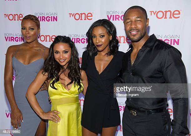 Cast members Eva Marcille Danielle Nicolet Meagan Holder and Tank attend TVOne Born Again Virgin Atlanta premiere at American Spirit Works on August...