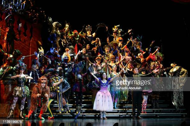 Cast members for The Phantom Of The Opera perform on stage during a media preview at the Sands Theatre at Marina Bay Sands on April 25, 2019 in...