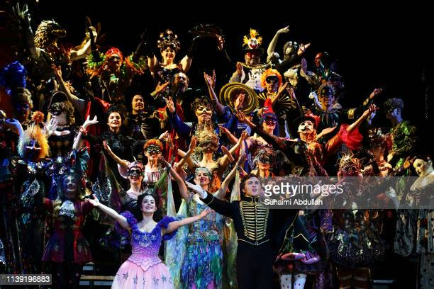 Cast members for The Phantom Of The Opera perform on stage during a media preview at the Sands Theatre at Marina Bay Sands on April 25 2019 in...