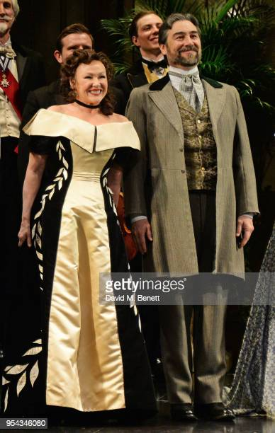 Cast members Frances Barber and Nathaniel Parker bow at the curtain call during the press night performance of 'An Ideal Husband' at the Vaudeville...