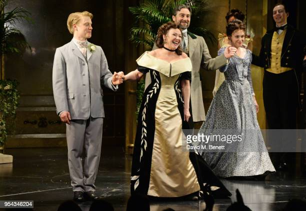 Cast members Freddie Fox Frances Barber Nathaniel Parker and Sally Bretton bow at the curtain call during the press night performance of 'An Ideal...